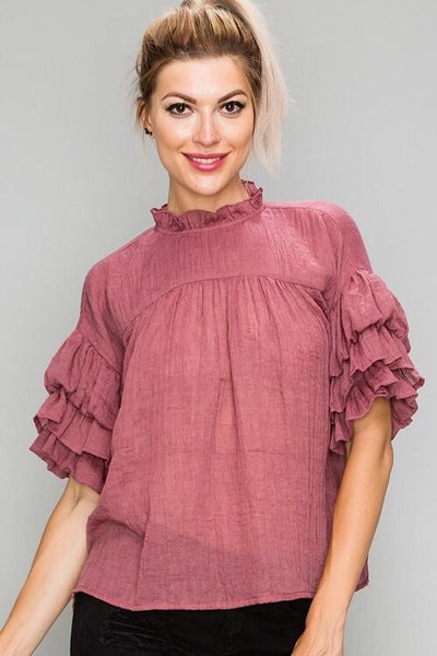 Elle Dark Rose Ruffle Top