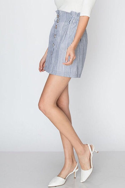 Denim Stripe Mini Skirt