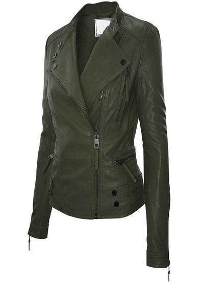 Olive Green Faux Leather Racer Jacket