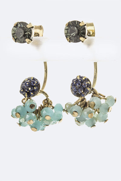 Navy and Mint Cluster Earrings