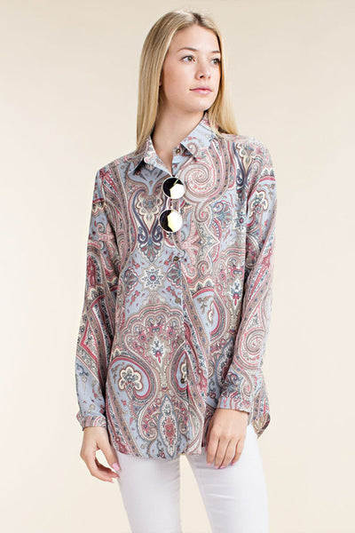 Blue Paisley Print Collared Top