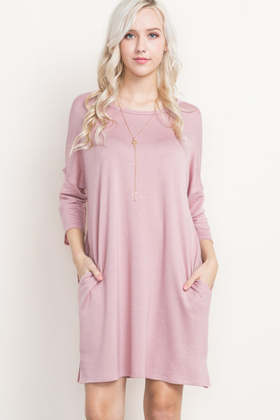 Pink French Terry Pocket Dress