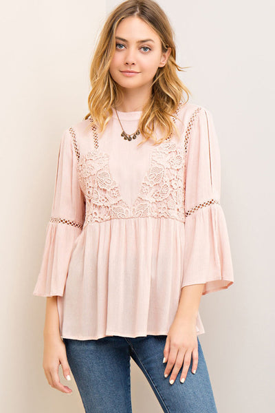 Peach Peasant Blouse