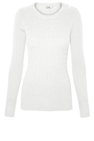 Soft White Cable Print Sweater