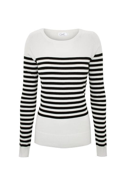 Soft White Striped Sweater