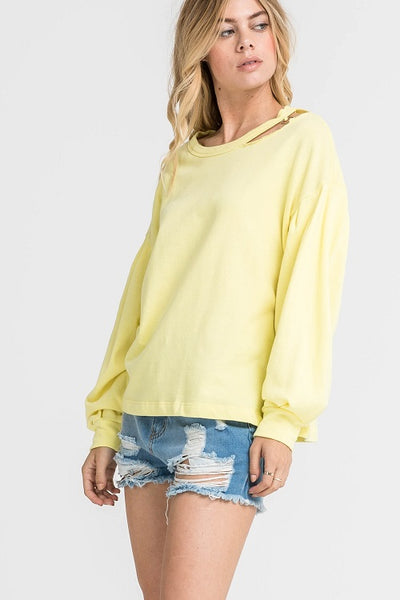 Sunkist Cutout Neck Sweatshirt
