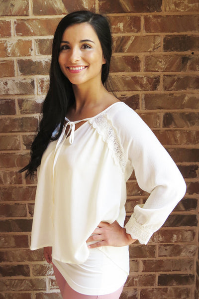 Ivory 3/4 Sleeve V-Neck Tie Top