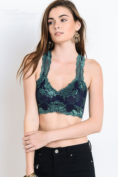 Navy and Jade Two-Tone Floral Bralette