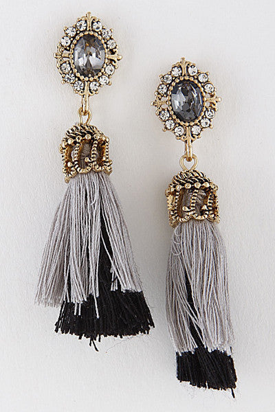 Silver and Black Victorian Inspired Tassel Earrings