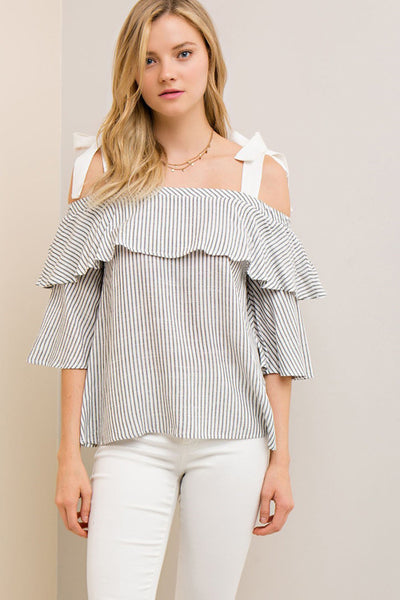 White and Black Striped Off Shoulder Top