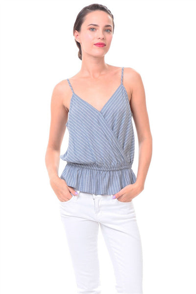 Navy Surplice Elastic Waist Stripe Tank Top