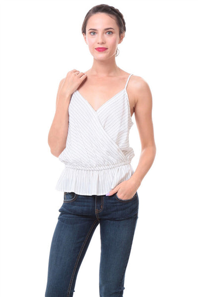 Off White Surplice Elastic Waist Stripe Tank Top