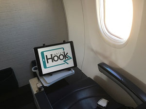 ipad stand on the aircraft, airline entertainment ipad stand tablethookz