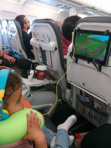 ipad mount on thomas cook airline holiday flight entertainment with tablethookz seat-back ipad holder