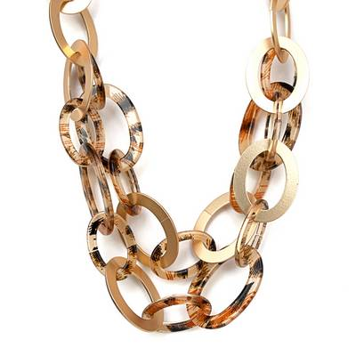 Artisan Jewelry Collection - Necklace Tortoise and Gold interlocking rings