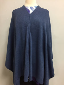 Poncho denim blue lightweight acrylic