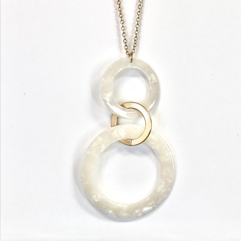 Artisan Jewelry Collection - Necklace Double Ring White Alabaster