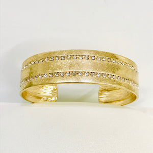 Artisan Jewelry Collection - Bracelet Gold Cuff with Crystals