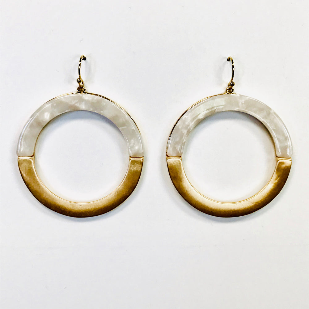 Circular Opal Resign and Goldtone Dangle Earrings