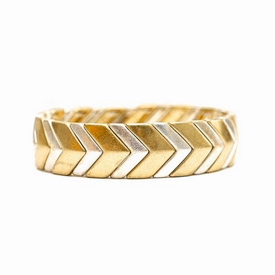 Artisan Jewelry Collection - Stretch Bracelet Gold /Silver Chevron