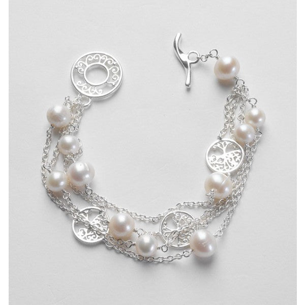 Southern Gates Collection Southern Oak Series Three Strand Pearl and Oak Tree Bracelet