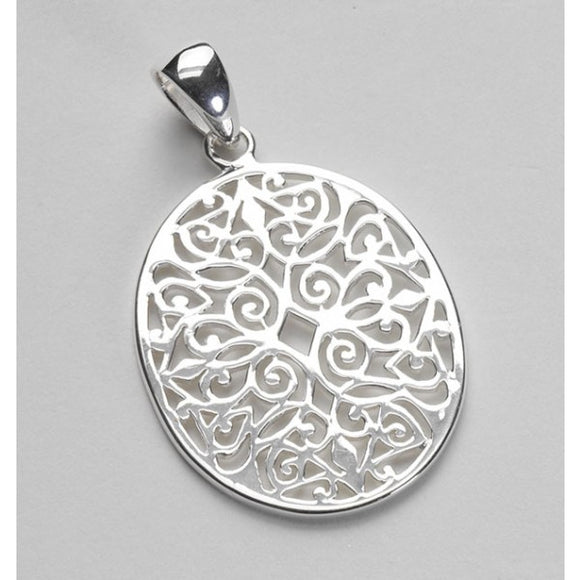 Classic Series Large Oval Scroll Pendant