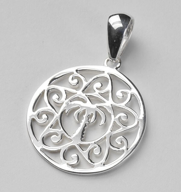 Sterling Silver Medium Palmetto Scroll Pendant