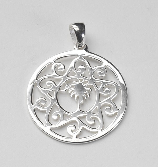 Sterling Silver Palmetto Tree and Moon Pendant