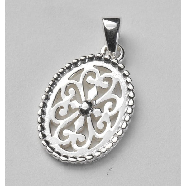 Inspiration Series Beaded Oval Heart Scroll Pendant
