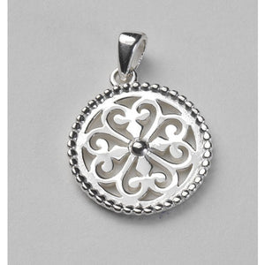 Southern Gates Collection Inspiration Series Small Round Beaded Heart Scroll Pendant