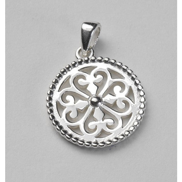 Inspiration Series Small Round Beaded Heart Scroll Pendant