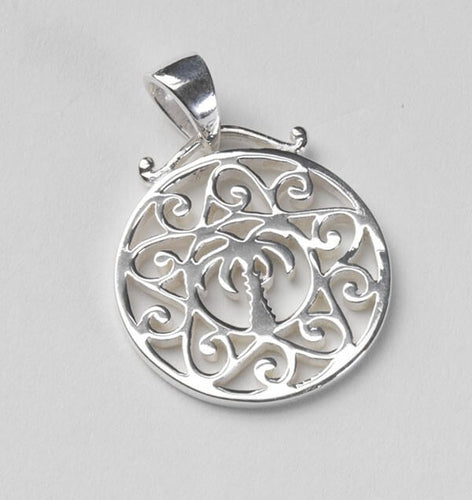 Southern Gates Sterling Silver Small Palmetto Tree Scroll Pendant