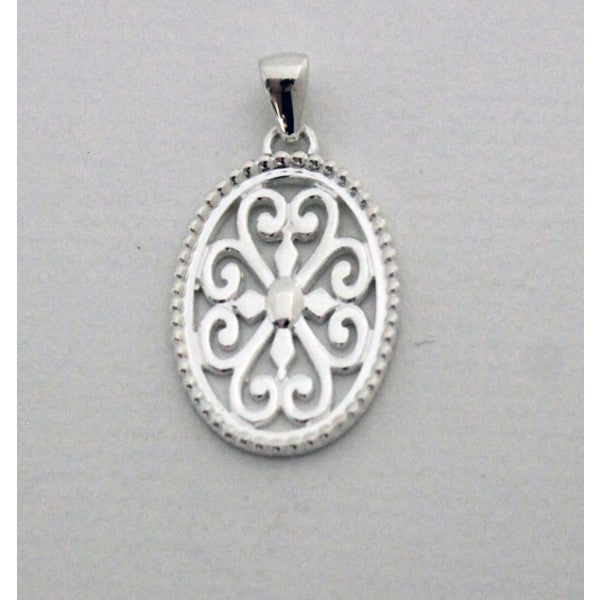 Southern Gates Collection Inspiration Series Large Beaded Oval Heart Scroll Pendant