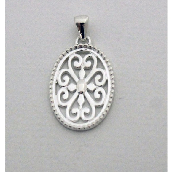 Inspiration Series Large Beaded Oval Heart Scroll Pendant