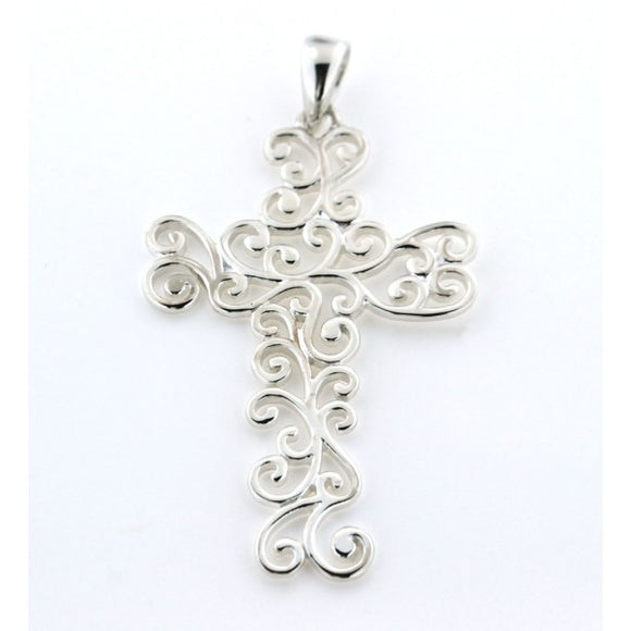 Inspiration Series Large Swirl Cross Pendant