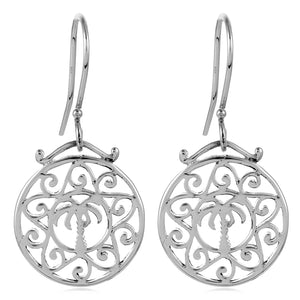 Southern Gates Sterling Silver Scroll Palmetto Tree Earrings