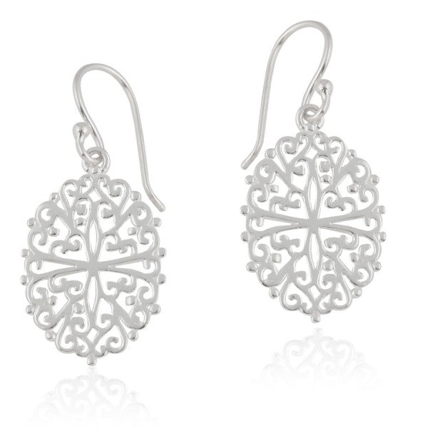 Ornamental Series Filigree Oval Earrings