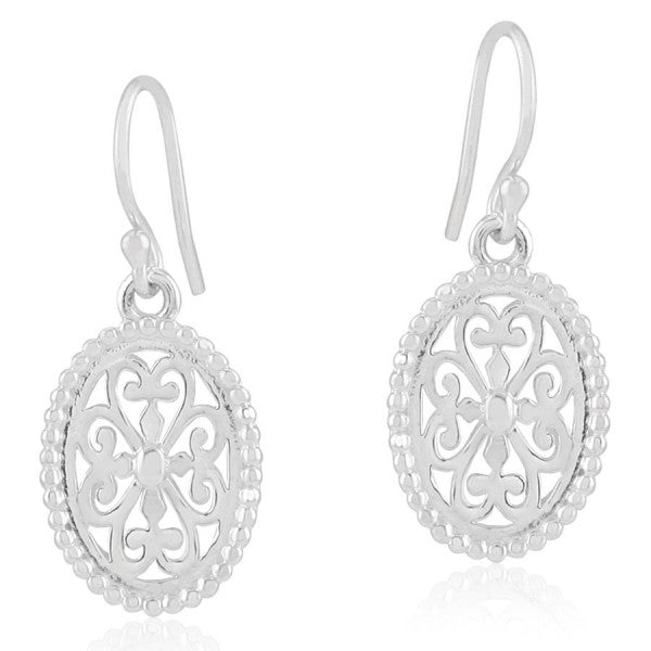Inspiration Series Beaded Oval Heart Scroll Earrings