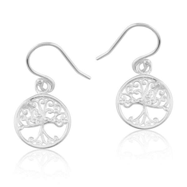 Southern Oak Series Small Round Oak Tree Earrings