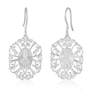 Southern Gates Sterling Silver Pineapple Filligree Frame Earrings