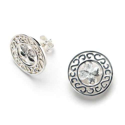 Southern Gates Collection Sterling Silver Dogwood Stud Earrings