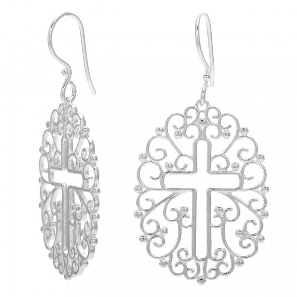 Inspiration Series Filligree Open Cross Earrings