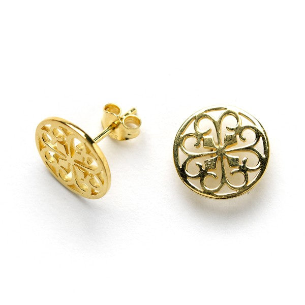 Gold Plated Gate Charm Stud Earrings