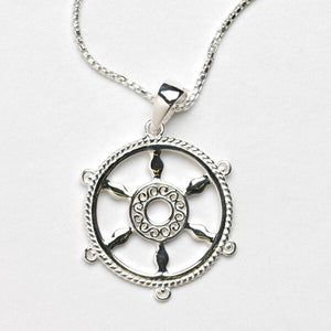 Southern Gates Harbor Series Ship Wheel Pendant and Chain