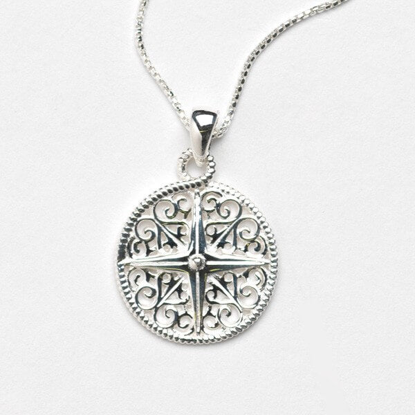 Southern Gates Harbor Series Compass Rose Pendant and Chain