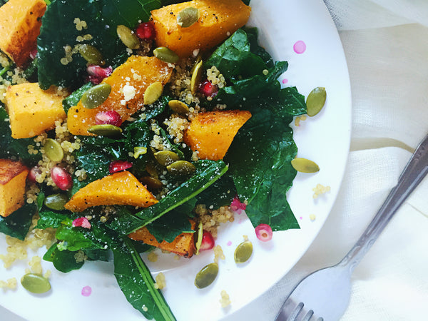 butternut squash kale fall salad healthy thanksgiving side dishes