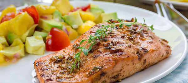 healthy dinner recipe baked salmon with mango salsa