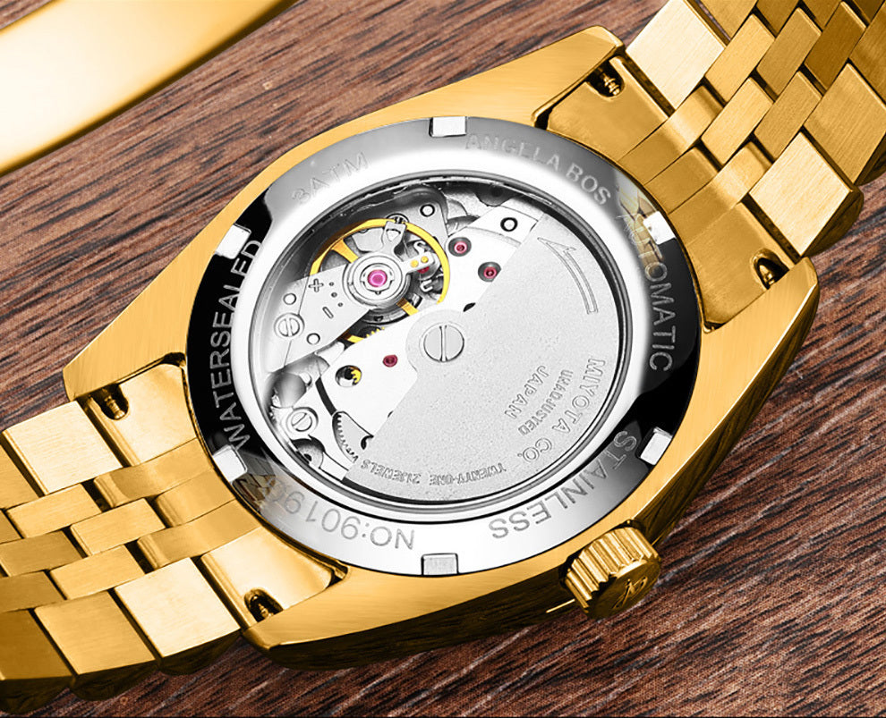 BOS Rhinestone Gold Watch
