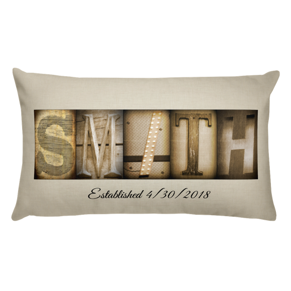 Letter Art Pillow Custom Sepia