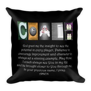 Bowling Coach Letter Art Pillow Bible Verse